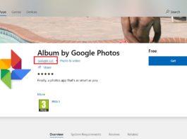 Google app in Store for Windows 10