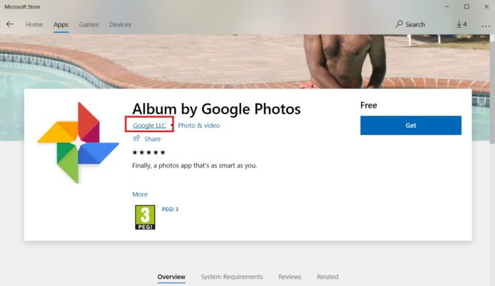 Google app in Store for Windows 10